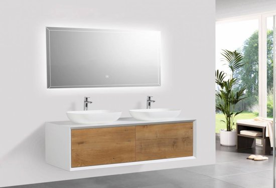 Bol.com sanitear badkamermeubel set 140 cm eiken mat wit led