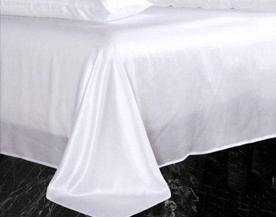 Zijden laken, 100% zijde, 600 thread count (22momme), Sneeuw wit, 280x290cm
