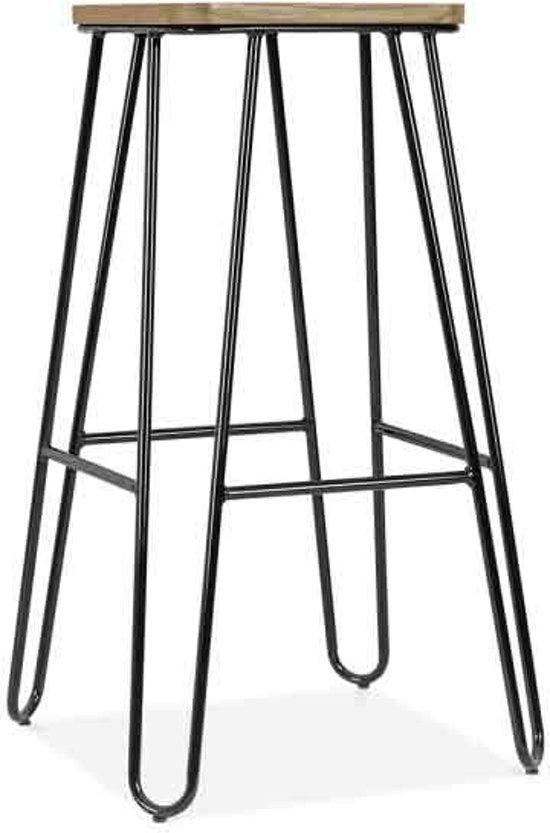 Legend - Wire - Metalen barkruk - Hoog 75 cm - Houten zitting - Zwart