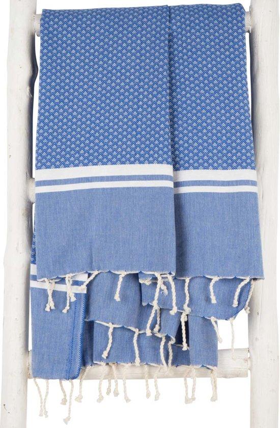 ZusenZomer Hamamdoek XL SOUSSE 190 cm Fouta hamam doek strand sauna hammamdoek - blauw