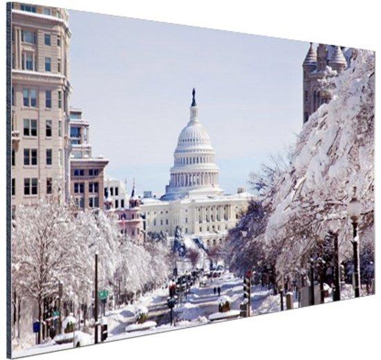 Capitool bij sneeuwval Aluminium 60x40 cm - Foto print op Aluminium (metaal wanddecoratie)