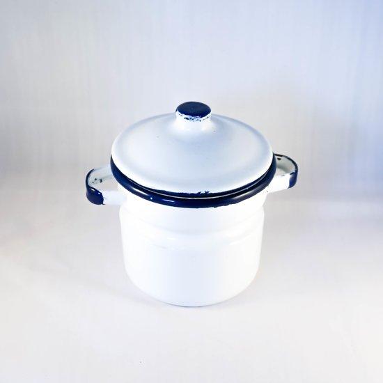 Emaille Suikerpot - Vintage Wit - Handgemaakt