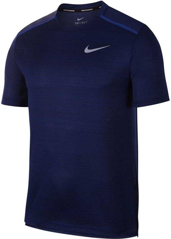 Nike Dry Miler Hardloop T-shirt Heren  Sportshirt - Maat L  - Mannen - blauw