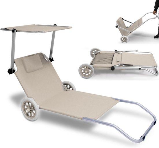 Strandstoel Met Wielen.Inklapbare Strandstoel Kreta Beige Met Wielen Zonnescherm