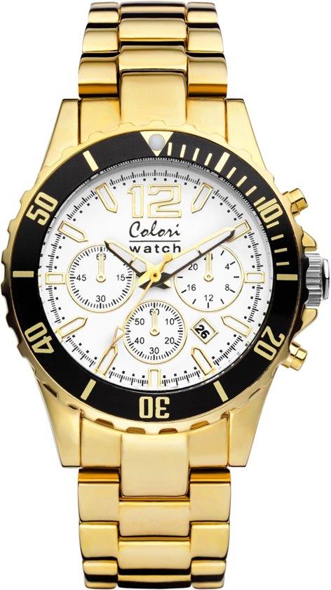 Colori 5-COL155 - Horloge - Wit met goudkleurig - 40mm