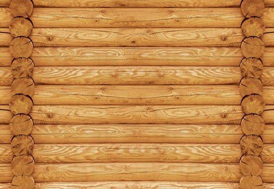 Fotobehang Log Wood Wall | M - 104cm x 70.5cm | 130g/m2 Vlies
