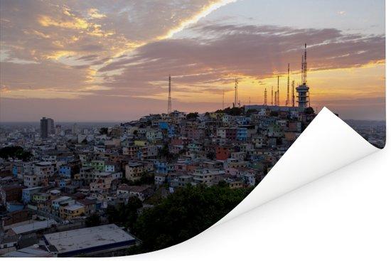 Schitterende zonsondergang in de Ecuadoraanse stad Guayaquil Poster 120x80 cm - Foto print op Poster (wanddecoratie woonkamer / slaapkamer)