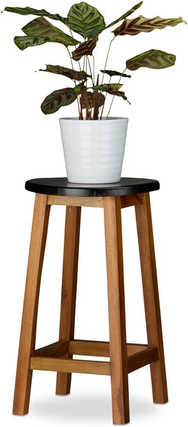 relaxdays plantenkruk hart - hout - bloementafel - krukje - decoratief zwart - ronde kruk L