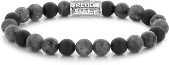 Rebel&Rose armband - Grey Rocks - 8mm