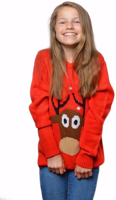 Rode kersttrui met rendier voor kinderen / Unisex - foute kersttruien 9/10 jaar (140/146) Valentinaa
