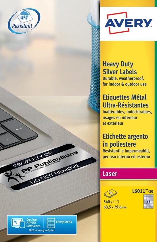 Avery ultra-sterke zilverkleurige etiketten formaat 635 x 296 mm (b x h) 540 stuks 27 per blad