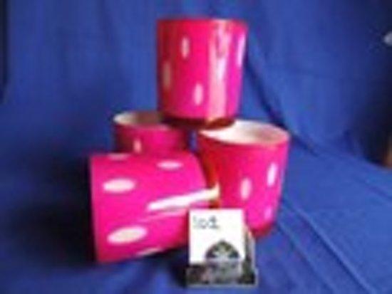 Waxinelicht - Glas - Roze met witte druppels - 8 cm hoog - Scarab4life