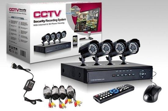 CCTV DVR Kit Beveiligingscamera Plug en Play camerasysteem  - 4 camera's ZWART