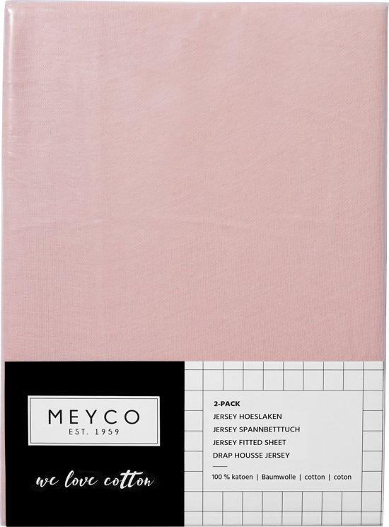Meyco jersey hoeslaken 2-pack - 70x140/150 - oudroze