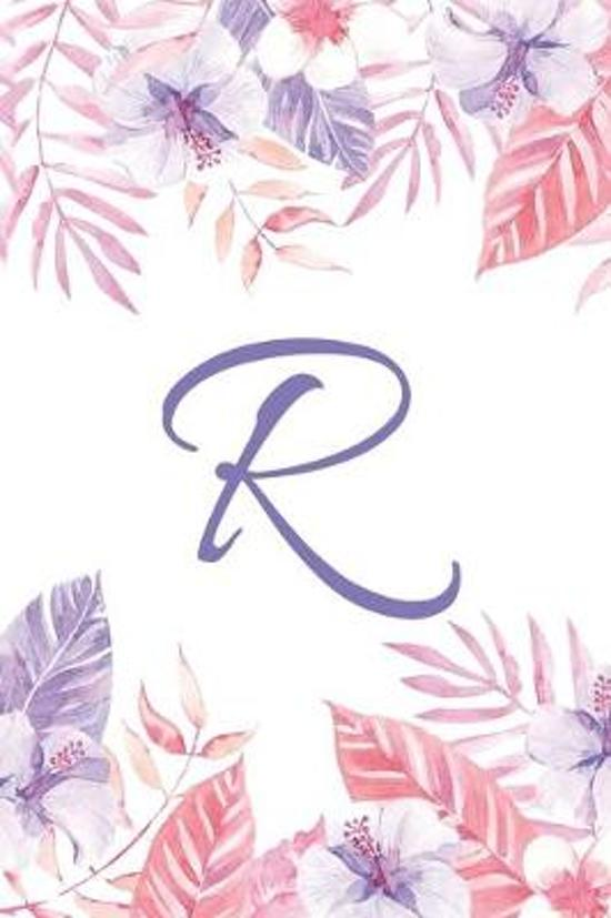 R: Initial R Monogram Notebook Journal Gift Pink and Purple Tropical Floral design