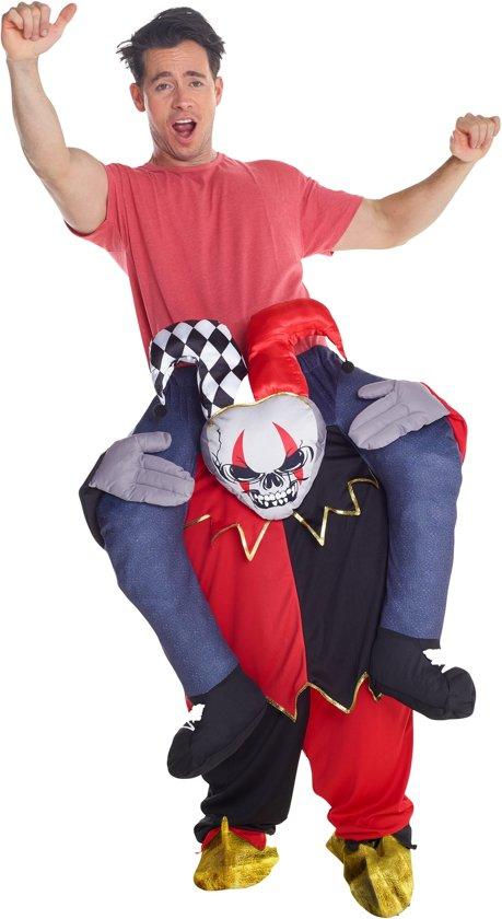 Man op de rug van een harlekijn kostuum voor volwassenen - Verkleedkleding