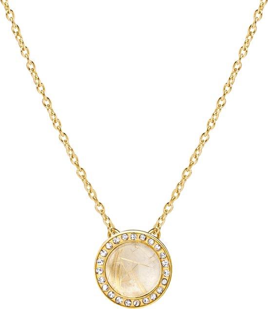 Melano friends plate ketting - dames - goudkleurig - rut. quartz gold - 40 cm