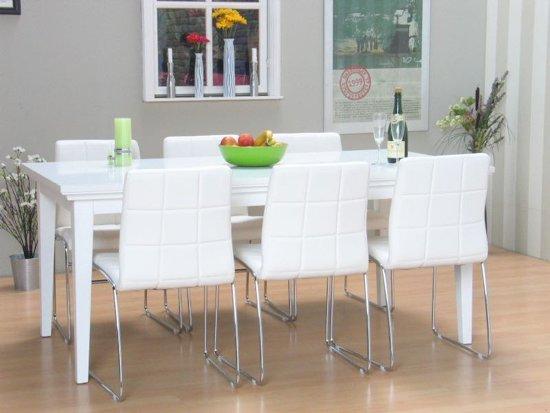 Compleet Eettafel Met 6 Stoelen.Bol Com Tvilum Venetie Eethoek Met 6 Stoelen 95x180 Cm Wit