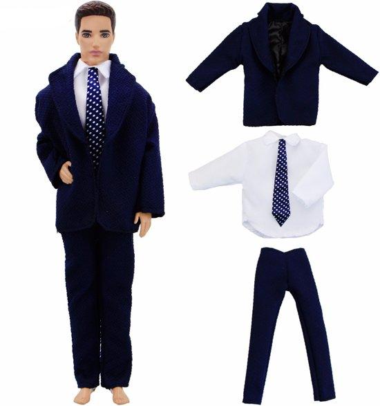 3-delig kostuum/pak voor mannelijke modepop zoals barbie Ken - Pantalon, blouse met stropdas & jasje