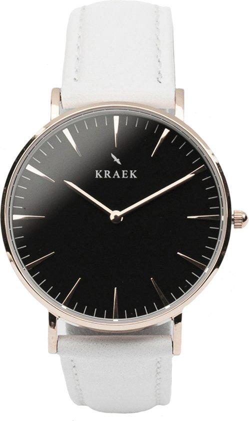 KRAEK Swift Rosé Goud Zwart 36 mm - Dames Horloge - Wit horlogebandje