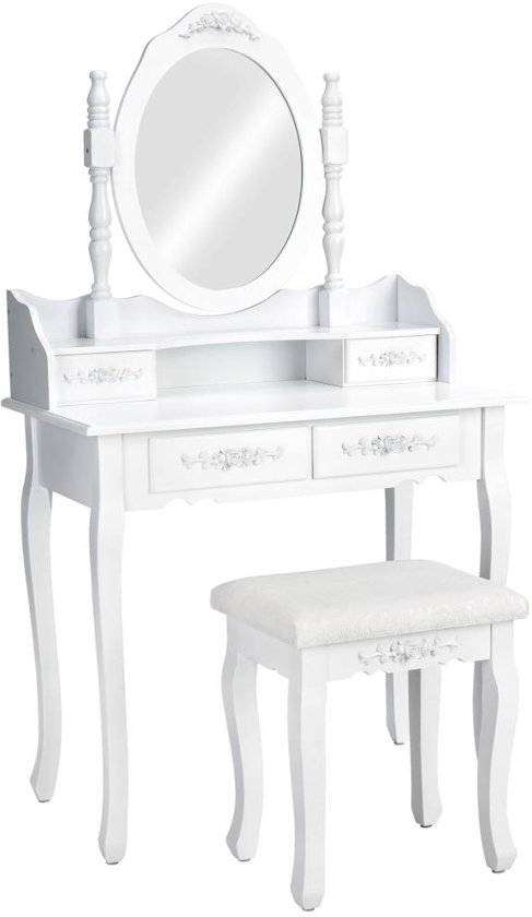 TecTake Make up tafel/kaptafel met spiegel en krukje - Wit - Hout - 402072