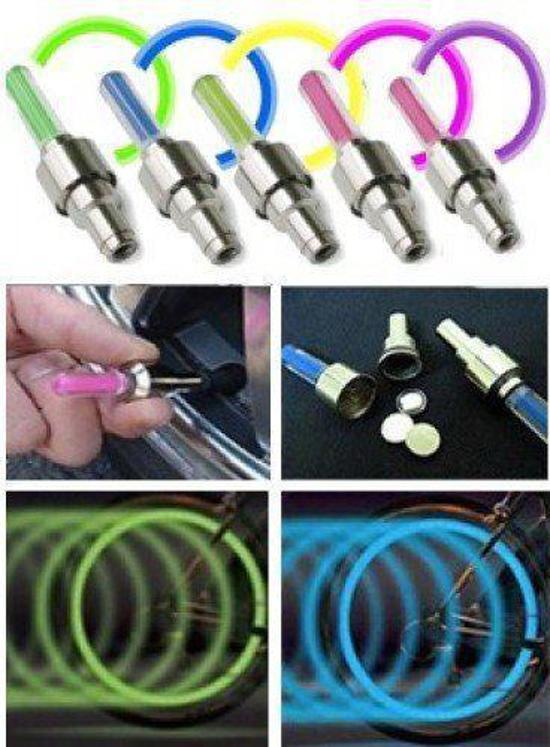 Firefly LED - Fietswielverlichting - Ventielbevestiging - Set van 2 - Blauw