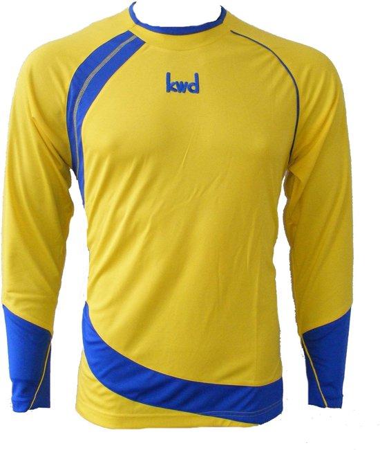 KWD Shirt Nuevo lange mouw - Geel/kobaltblauw - Maat XL