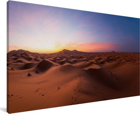 Panorama van de Sahara woestijn in Marokko tijdens een zonsopgang Canvas 80x40 cm - Foto print op Canvas schilderij (Wanddecoratie woonkamer / slaapkamer)