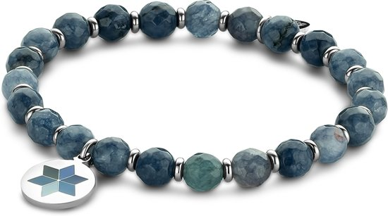 CO88 Collection Majestic 8CB 90505 Natuustenen Armband - Jade - One-size / 6 mm - Donker Blauw