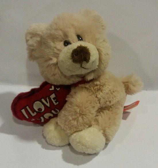 Valentijn - Knuffel Sammy hond met hartkussentje I love you - 15cm