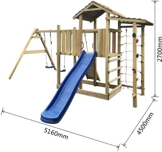 vidaXL Speelhuis met glijbaan, ladder en schommels 516x450x270 cm hout