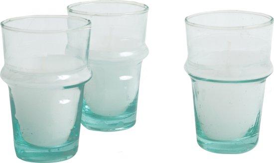 glazen 'traditioneel' - XL - recycled glas - mondgeblazen - set van zes