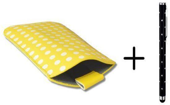 Polka Dot Hoesje voor Point Of View Mobii Phone 5045 met gratis Polka Dot Stylus, Geel, merk i12Cover