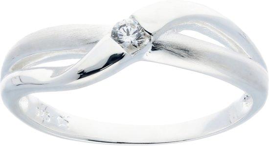Classics&More ring - zilver - zirkonia - mat glanzend - maat 60