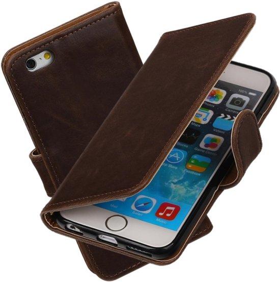 MP Case mocca leder look hoesje voor iPhone 6S 4.7 Booktype - Telefoonhoesje - smartphonehoesje - beschermhoes. in Zuidland