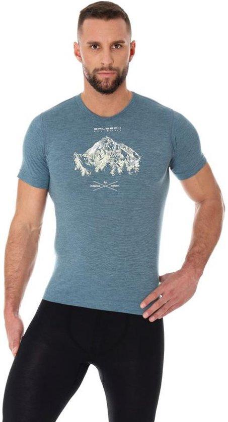 Brubeck | Outdoor Wool Heren T-Shirt met Merino Wol en Tencel® - Staal - Maat S