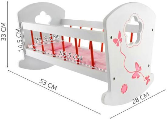 Houten Poppenbedje / voor poppen tot 50 cm / poppenwiegje / Kleur wit