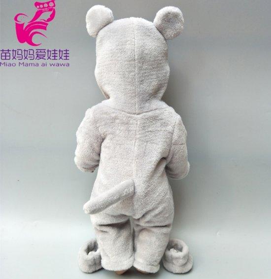 Poppenkleertjes | Geschikt voor Baby Born | Muis onesie met slofjes| Grijs | Met capuchon | Pyjama