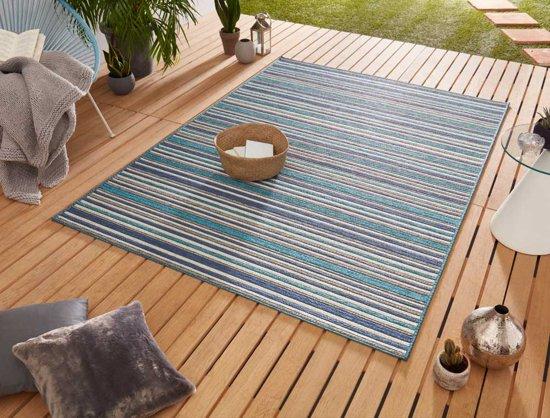Binnen & buiten vloerkleed Bamboo - blauw 80x240 cm