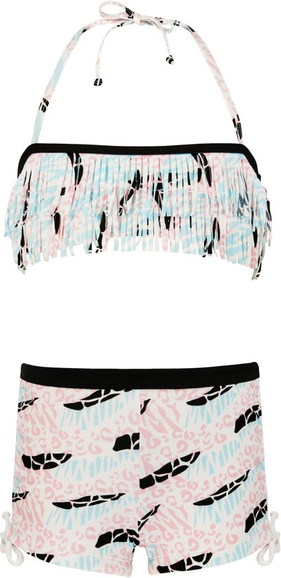 Snapper Rock UV werende Bikini Kinderen Surf Safari - Roze/Blauw - Maat 116-122