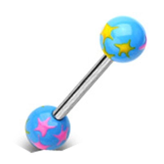 intieme piercings gekleurde sterren blauw