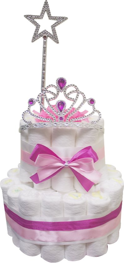 Pampertaart / Luiertaart Prinses Meisje 2-lagen met kroon / tiara maat 1 (2-5kg), Kraamcadeau, Babyshower