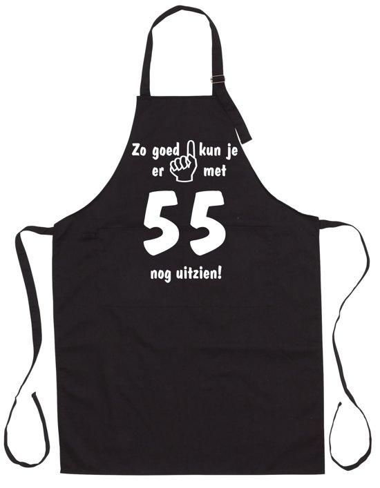 Mijncadeautje - Luxe Keukenschort - Zo goed kun je er uitzien 55 jaar - Unisex - Zwart - Leeftijd