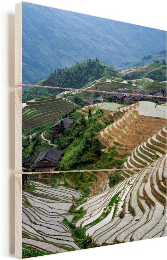 Overzicht over de Rijstterrassen van Lóngjĭ Vurenhout met planken 40x60 cm - Foto print op Hout (Wanddecoratie)