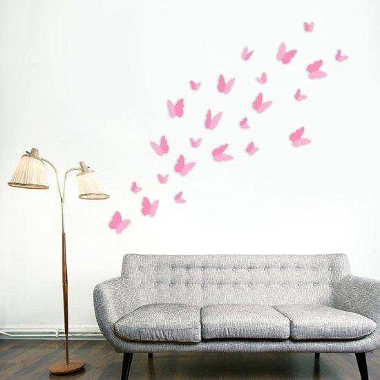 24 stuks 3d vlinders licht roze kleur vlinders for Muurdecoratie babykamer