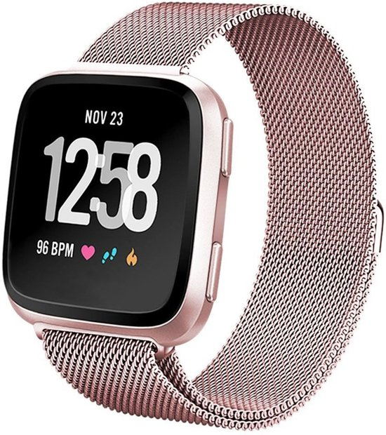 123Watches.nl Fitbit versa milanese band - rose rood - ML