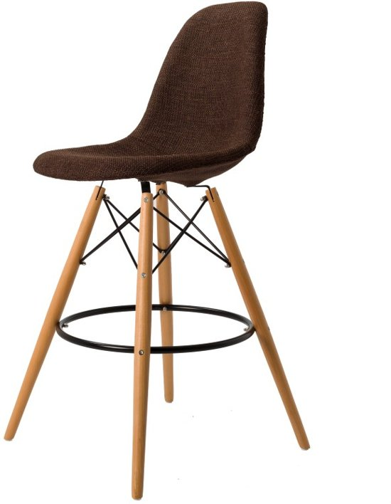 Design barkruk DD DSW barkruk upholstered donkerbruin kuipstoel