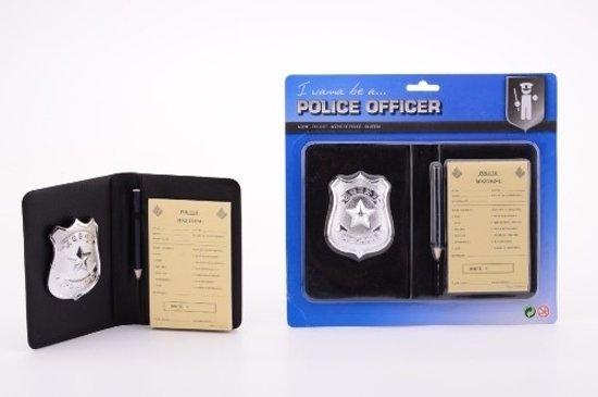 Politie bonnenboekje deluxe met potlood, badge en map