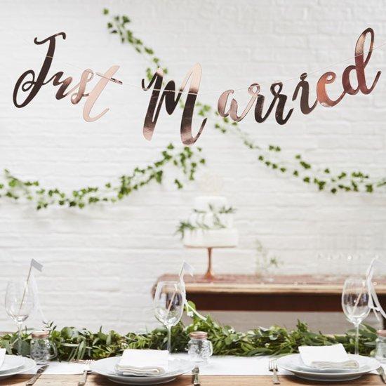 Ginger Ray Beautiful Botanics - 'Just Married' huwelijk slinger - rosé goud - 1,50 meter Valentinaa