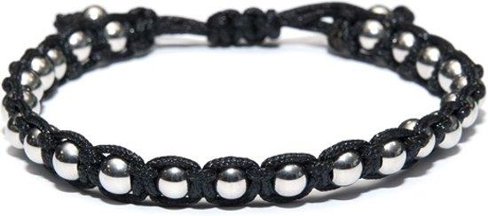 Kaliber 7KB-0081 - Heren armband - nylon met 6 mm stalen balletjes - one-size - zwart / zilverkleurig
